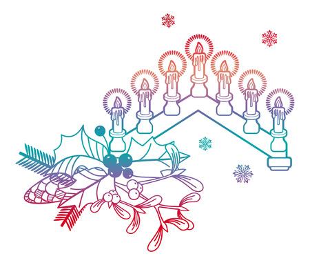 Contour color image of a Christmas candlestick. Raster clip art.