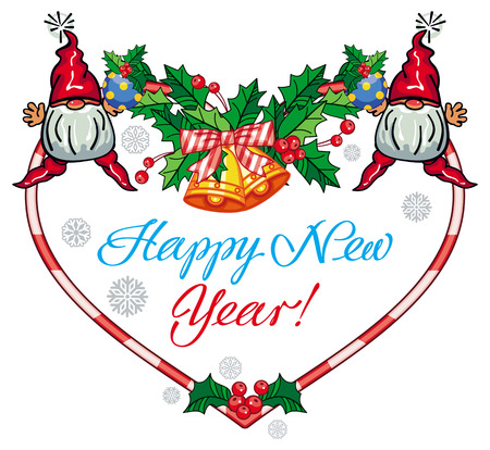 dwarf christmas: Holiday heart-shaped label with Christmas decorations, funny gnome and greeting text Happy New Year!. Vector clip art.