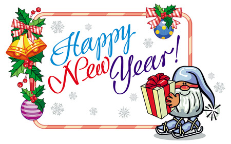 Holiday label with Christmas decorations, funny gnome and greeting text Happy New Year!. Vector clip art.
