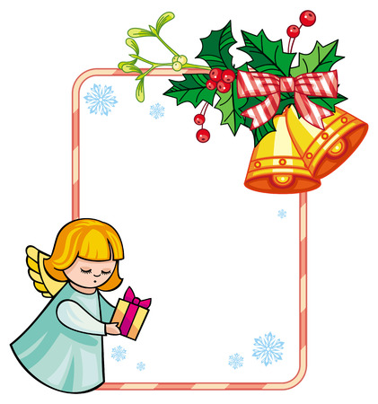 Christmas frame with cute angels. Copy space. Christmas holiday background. Vector clip art.