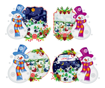 Set of holiday labels with happy snowman in funny hat and scarf. Winter village landscape. New Year decoration. Vector clip art.