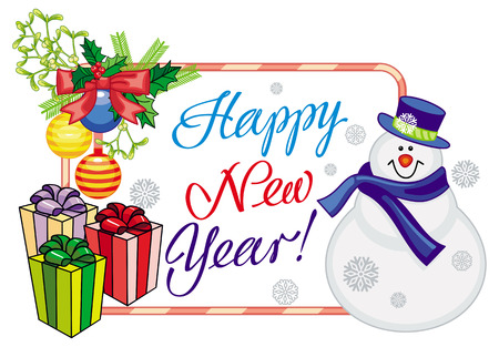 Winter holiday label with snowman and greeting text: Happy New Year!. Christmas design element. Vector clip art.