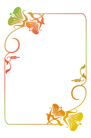 Beautiful floral frame with gradient fill. Color silhouette  frame for advertisements, wedding and other invitations or greeting cards. Raster clip art.