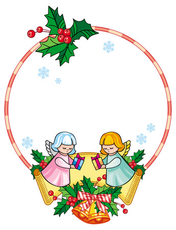 Christmas round label with cute angels. Copy space. Christmas holiday background. Vector clip art.