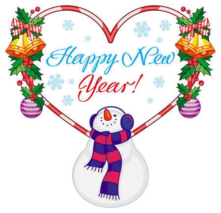 Heart-shaped winter holiday label with snowman and greeting text: Happy New Year!. Christmas design element. Vector clip art. Illustration