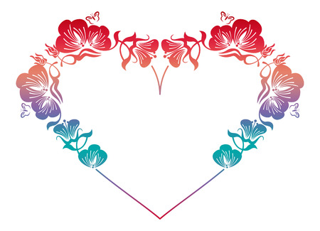 Beautiful heart-shaped floral frame with gradient fill. Color silhouette  frame for advertisements, wedding and other invitations or greeting cards. Raster clip art.
