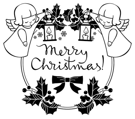 black and white christmas label with angels and artistic written text - When Was White Christmas Written