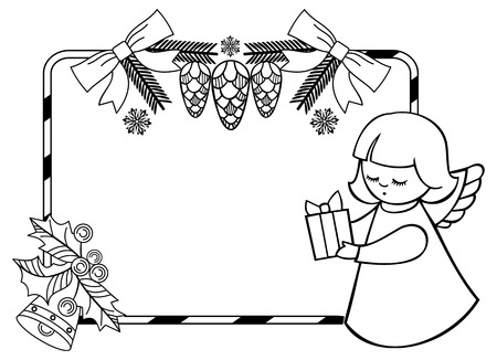 Black and white Christmas frame with cute angels. Copy space. Christmas holiday background. Vector clip art. Illustration