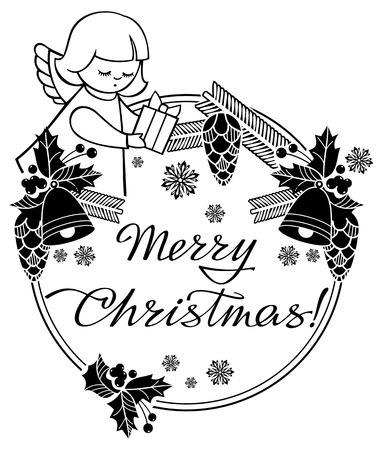 black and white christmas label with angel and artistic written text - When Was White Christmas Written