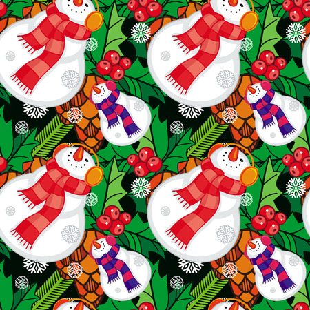 allover: Seamless pattern with funny snowmen. Vector clip art.