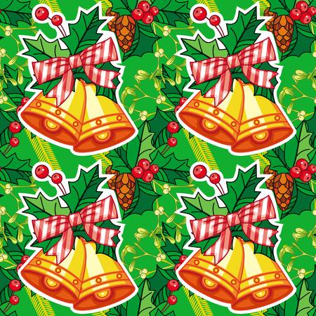 jingle bells: Seamless Christmas pattern with jingle bells. Vector clip art.