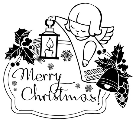 Black and white Christmas label with angels and artistic written text: Merry Christmas!. Christmas holiday background. Vector clip art.