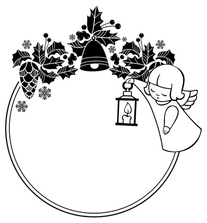 Black and white rouen Christmas frame with cute angels. Copy space. Winter holidays background. Vector clip art. Vettoriali