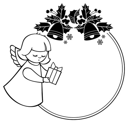 Black and white rouen Christmas frame with cute angels. Copy space. Winter holidays background. Vector clip art. Vector Illustration
