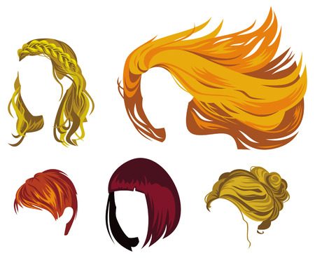 Different type of womans hair styles. Images of haircuts without faces. Raster clip art.