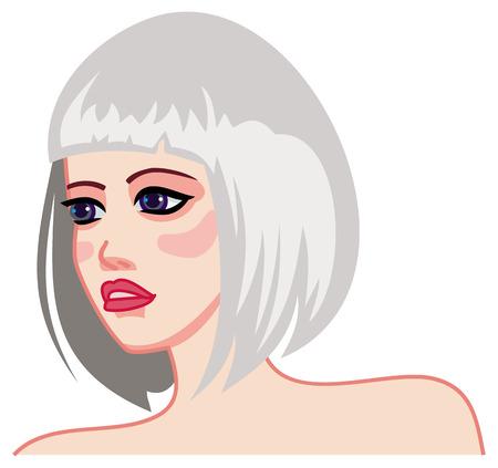Blond girl with modern haircut. Medium hair style. Raster clip art.
