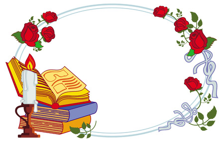 lighted: Color frame with red roses, books and lighted candle. Copy space. Raster clip art.