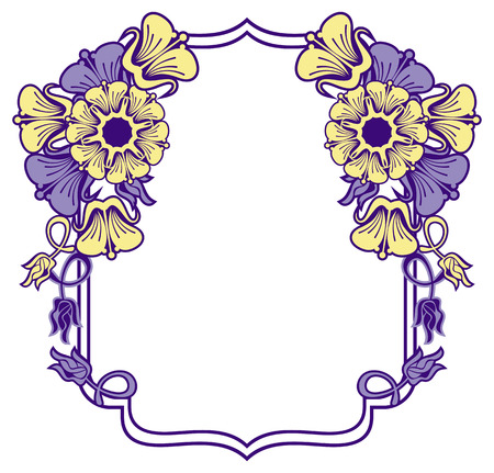 Beautiful frame with blue and yellow  flowers. Design element for advertisements, flyer, web, wedding, invitations and greeting cards. Raster clip art.