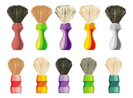 Set of shaving brushes of traditional design. Raster clip art.