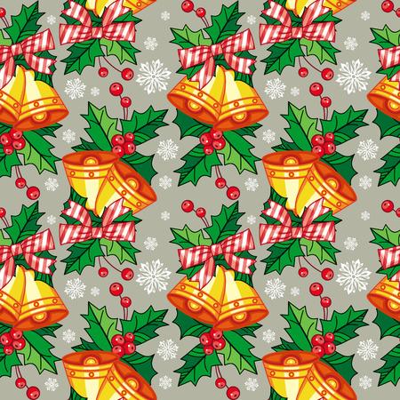jingle bells: Seamless Christmas pattern with  jingle bells. Vector clip art. Illustration