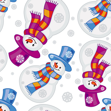 allover: Winter seamless pattern with funny snowmen. Vector clip art.