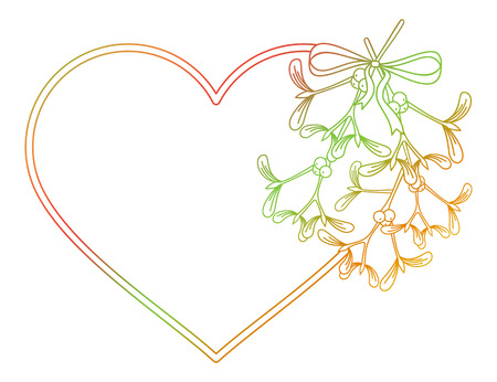 Heart-shaped frame and mistletoe. Copy space. Color gradient frame for invitations or greeting cards. Raster clip art. Stock Photo