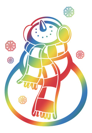 wintery: Color gradient filled contour of a snowman and snowflakes on a white background. Raster clip art.