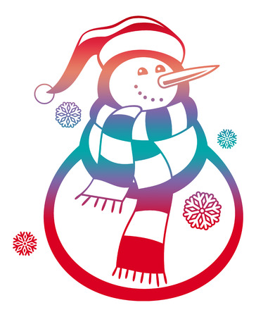 Color gradient filled contour of a snowman and snowflakes on a white background. Raster clip art.