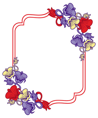 Beautiful frame with abstract flowers. Design element for advertisements, flyer, web, wedding, invitations and greeting cards. Raster clip art.