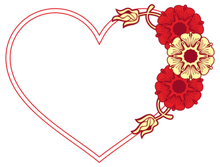 heartshaped: Heart-shaped frame with decorative flowers. Design element for advertisements, flyer, web, wedding, invitations and greeting cards. Raster clip art. Stock Photo