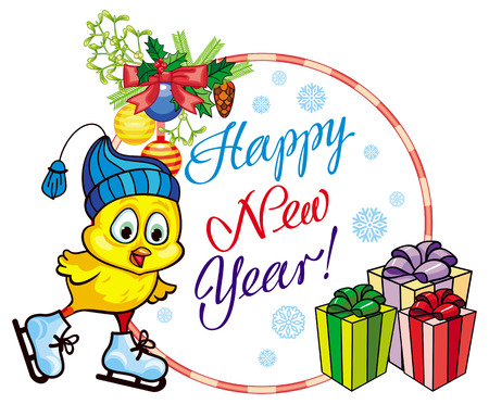 niño en patines: Holiday label with cute chicken and greeting text:Happy New Year!. Copy space. Vector clip art. Vectores