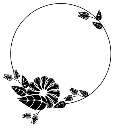 floral ornaments: Round black and white frame outline decorative flowers. Copy space. Vector clip art.