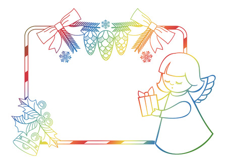 Gradient Christmas frame with cute angel. Copy space. Christmas holiday background. Raster clip art.