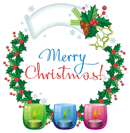 christmas garland lighted candle and holiday greeting text
