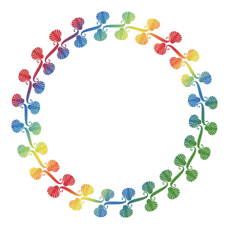 Round silhouette frame with shells with color gradient fill. Raster clip art.