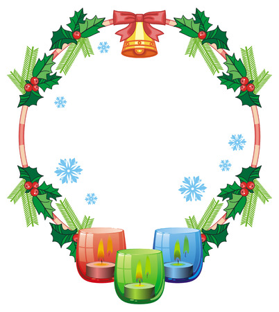 Round frame in shape of Christmas garland and lighted candle in the glass candle holder. Copy space. Vector clip art. Illustration