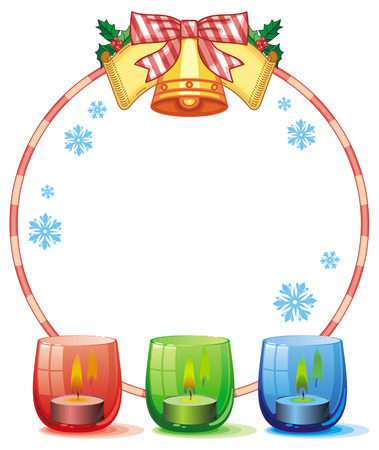 candle holder: Round frame in shape of Christmas garland and lighted candle in the glass candle holder. Copy space. Vector clip art. Illustration