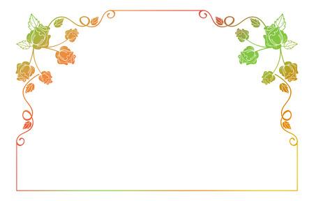 Gradient-Rahmen mit Rosen. Farbe Rahmen mit Rosen für Anzeigen, Hochzeitseinladungen oder Grußkarten. Raster Clip Art.