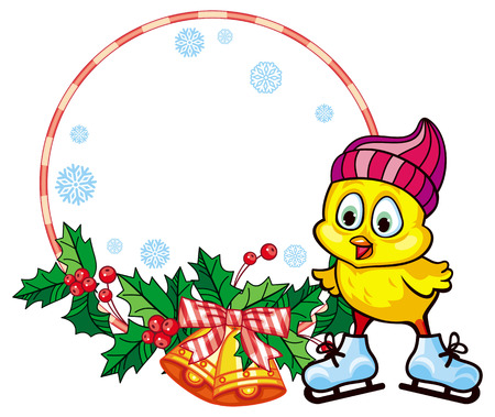 Cute chicken in funny hat ice skating. Christmas holiday round frame. Copy space.  Raster clip art.