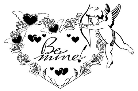 Line Art Of Heart : Black and white heart shaped label with cupid artistic written