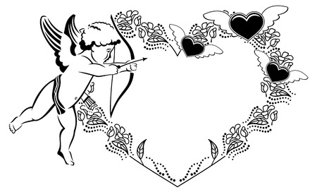 Black and white heart-shaped Valentine frame with cupid. Copy space. Vector clip art. Illustration