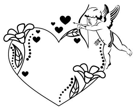 cupido: Black and white heart-shaped Valentine frame with cupid. Copy space. Vector clip art. Illustration
