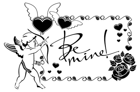 Black and white label with cupid and artistic written text:Be mine!. Vector clip art. Illustration
