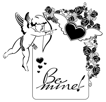 cupido: Black and white label with cupid and artistic written text:Be mine!. Vector clip art. Illustration