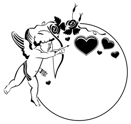 mixed marriage: Black and white Valentine frame with cupid and hearts. Copy space. Vector clip art.