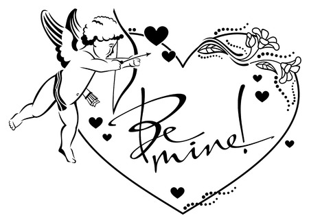 cupido: Black and white heart-shaped label with cupid and artistic written text:Be mine!. Vector clip art.