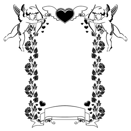 cupido: Black and white Valentine frame with cupid and hearts. Copy space. Vector clip art.