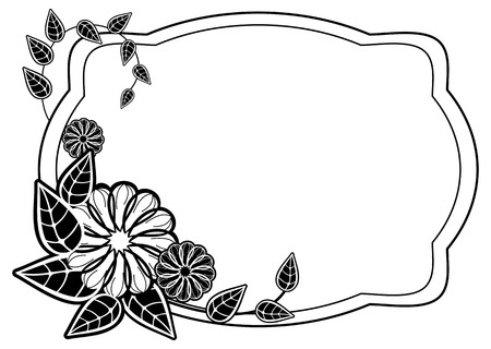 Black and white frame with flower silhouettes. Copy space. Vector clip art.