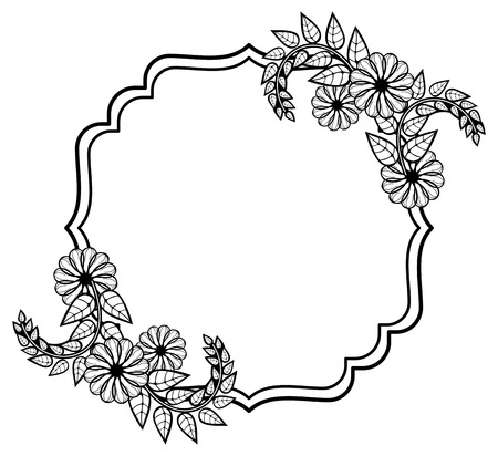 Black and white frame with decorative flowers. Copy space. Vector clip art.