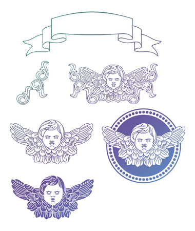 Gradient filled cherubs. Design elements for artworks. Raster clip art.